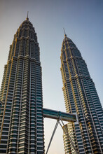 The Iconic 88 Floor Petronas Twin Towers, Connected By A Skybridge, Designed By Cesar Pelli, In The Capital City Of Kuala Lumpur, Malaysia