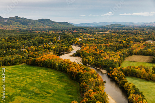 New England Rural Aerial Landscape with Stream