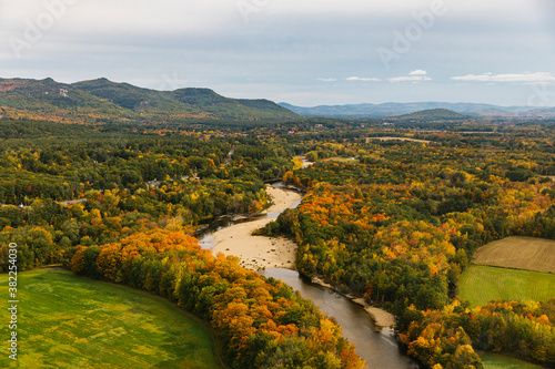 New England Aerial Landscape with winding River