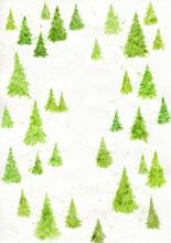 Watercolor Green Pines