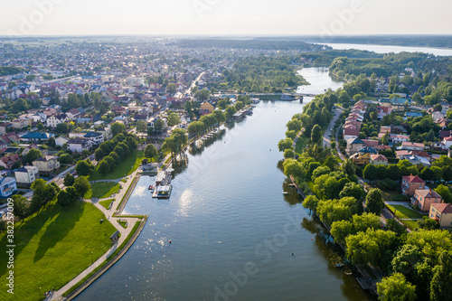 Fototapeta Aerial view of Augustow city and Netta river obraz