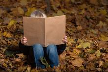 Child Boy Sitting On Autumn Le...