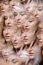 Multi Exposure Blond Woman Portrait