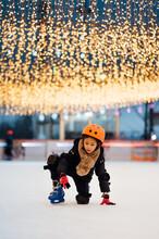 Cute Little Girl Ice Skating
