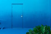 Blue Door On A Blue Wall