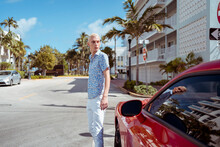 Stylish Blond Man In Miami