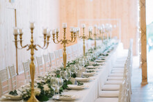 Long Table Decorated For A Wed...
