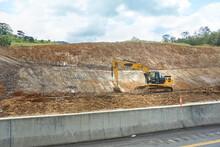 Excavator Work In Road Constru...