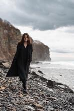 Trendy Lady Walking Near Storm...