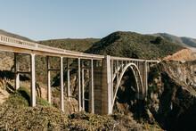 Horizontal View Of The Bixby Creek Bridge In Big Sur, California