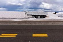 Old Truck On Salt Flat In Salt...