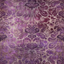 Luxury Purple And Tan Damask Seamless Pattern. High Quality Illustration. Mysterious And Luxurious Grape And Beige Colored Ornamental Textured Pattern Swatch. Fancy And Glamorous Romantic Design.