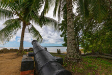 Dutch Cannon On The Shore Of Nieuw Amsterdam, Commewijne District In Suriname