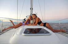 Portrait Of Girls On A Yacht A...