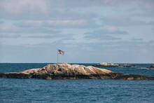 American Flag Seascape On Coast Of New England