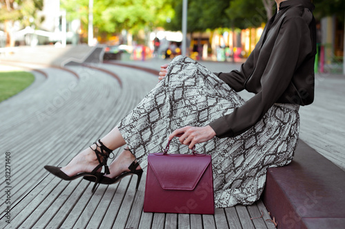 Fotografía Young fashionable woman wearing black silk blouse, snake print midi skirt, gray wool coat and black high heel shoes
