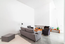 Modern Bright Living Room In A...