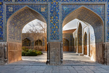 Details Of The Archs Inside The Shah Mosque In Isfahan, Iran,
