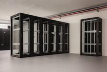 Server Racks Under Construction In A Data Center Hall.