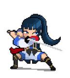 Fototapeta Dinusie - Pixel anime samurai image. vector illustration