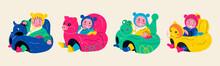 Cute Babies Sitting In Seats. ...