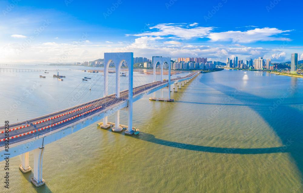 Fototapeta Aerial scenery of Xiwan bridge in Macao, China