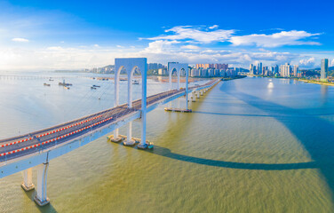 Aerial scenery of Xiwan bridge in Macao, China