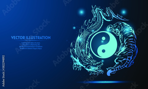Obraz na plátně dragon and tiger on a dark blue background of the space with shining stars