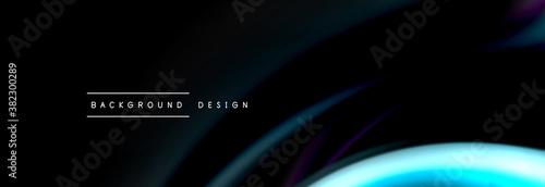 Fototapeta Dynamic motion abstract background. Color blurred stripes on black. Wave liquid lines poster. Vector illustration obraz