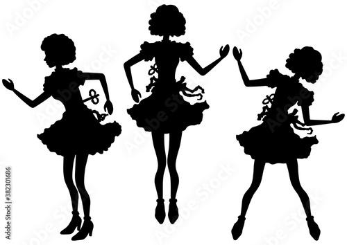 Obraz na plátně Mechanical dolls silhouettes set/ Set with a clockwork doll with a key