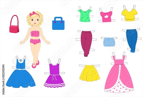 Paper doll with clothes set for kids craft