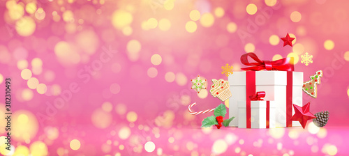 Christmas sparkle gift copy space template. Merry christmas pink glitter gift background. Festive decoration for Chrismtas Eve holiday. 3d rendering