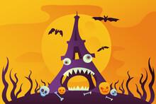 Halloween Card With Eiffel Tow...