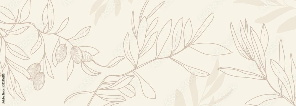 Fototapeta Luxury olive background vector with golden metallic decorate wall art
