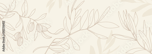 Obraz Luxury olive background vector with golden metallic decorate wall art - fototapety do salonu
