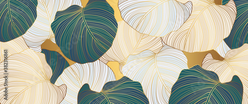 .luxury gold floral line art wallpaper vector. Exotic botanical background, Lily flower vintage boho style for textiles, wall art, fabric, wedding invitation, cover design Vector illustration.