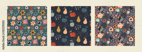 Set of vector colorful natural seamless patterns with flowers, leaves and fruits Wallpaper Mural