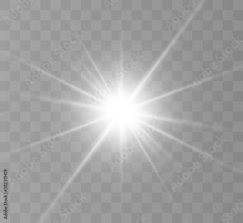 Obraz White glowing light explodes on a transparent background. Bright Star. Transparent shining sun, bright flash. Vector graphics.	 - fototapety do salonu