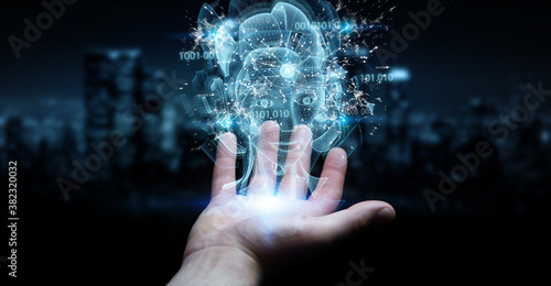 Man hand using digital artificial intelligence holographic projection 3D renderi Canvas Print