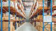Interior of logistics warehouse.