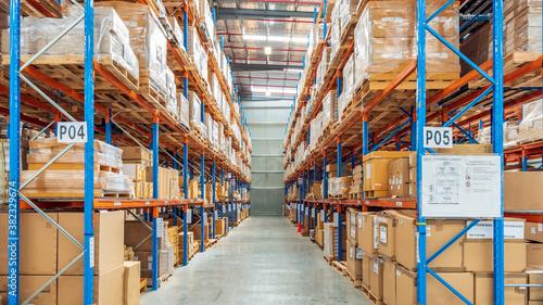 Fototapeta Interior of logistics warehouse. obraz