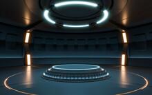 Futuristic Sci Fi Empty Stage Neon. 3d Rendering