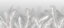 Wallpaper, Feathers On A Gray Background