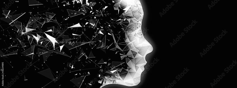 Fototapeta 抽象的なロボットの横顔のシルエット