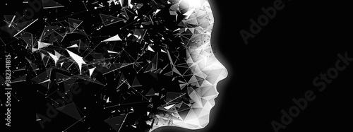 抽象的なロボットの横顔のシルエット Canvas Print