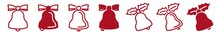 Christmas Bell Icon Set Red | X-MAS Bells Vector Illustration Logo | XMAS Bell Icons Isolated Collection