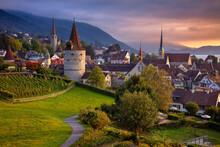 Zug, Switzerland. Cityscape Image Of Zug At Beautiful Autumn Sunset.