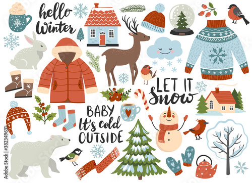 Winter season element set: warm clothes, polar bear, white rabbit, deer, calligraphy quotes. Perfect for scrapbooking, greeting card, sticker kit. Hand drawn vector illustration