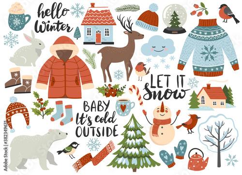 Obraz Winter season element set: warm clothes, polar bear, white rabbit, deer, calligraphy quotes. Perfect for scrapbooking, greeting card, sticker kit. Hand drawn vector illustration - fototapety do salonu