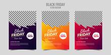 Exclusive Black Friday Sale  Banner Set Instagram Post Template Set Vector
